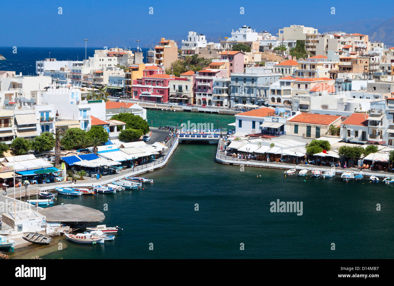 Aghios Nikolaos city at Crete island in Greece. View of the harbor - Stock Image