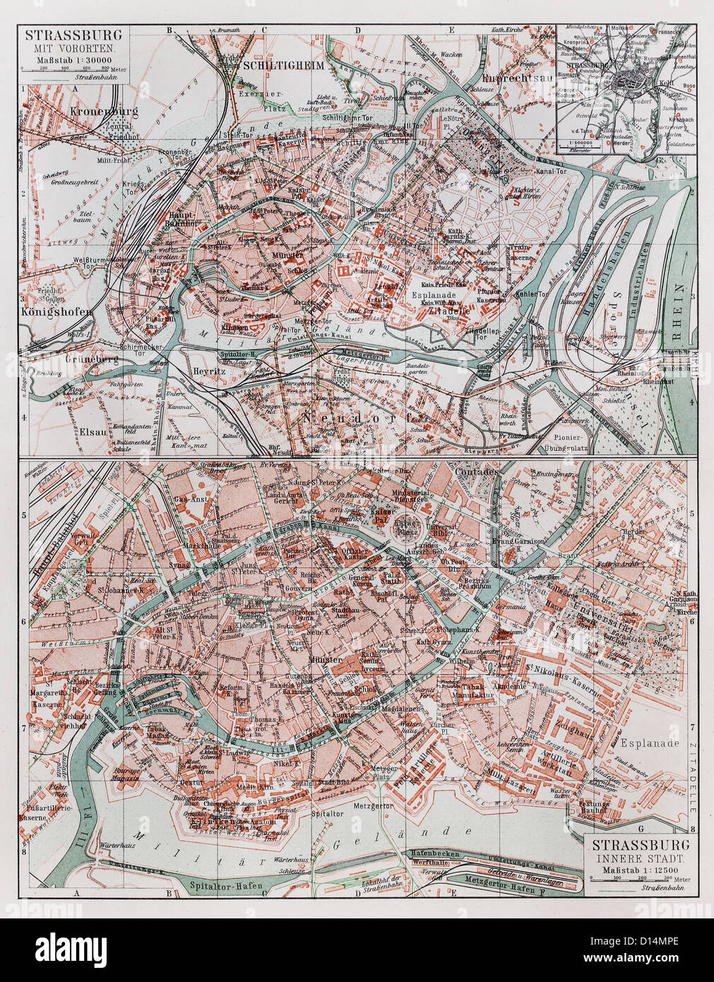 Vintage map of Strasbourg at the end of 19th century - Stock Image