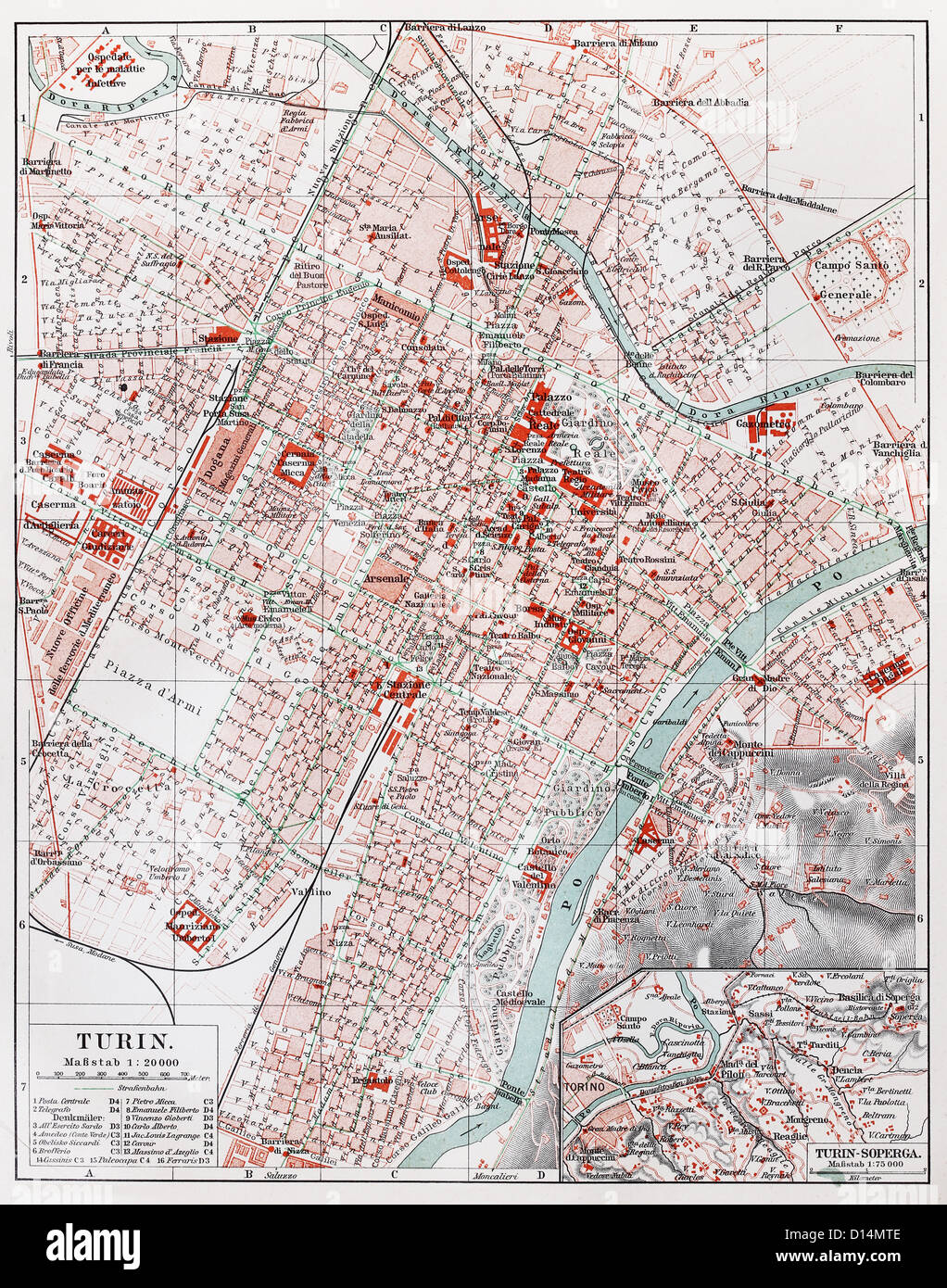 Vintage map of Turin from the end of 19th century - Stock Image