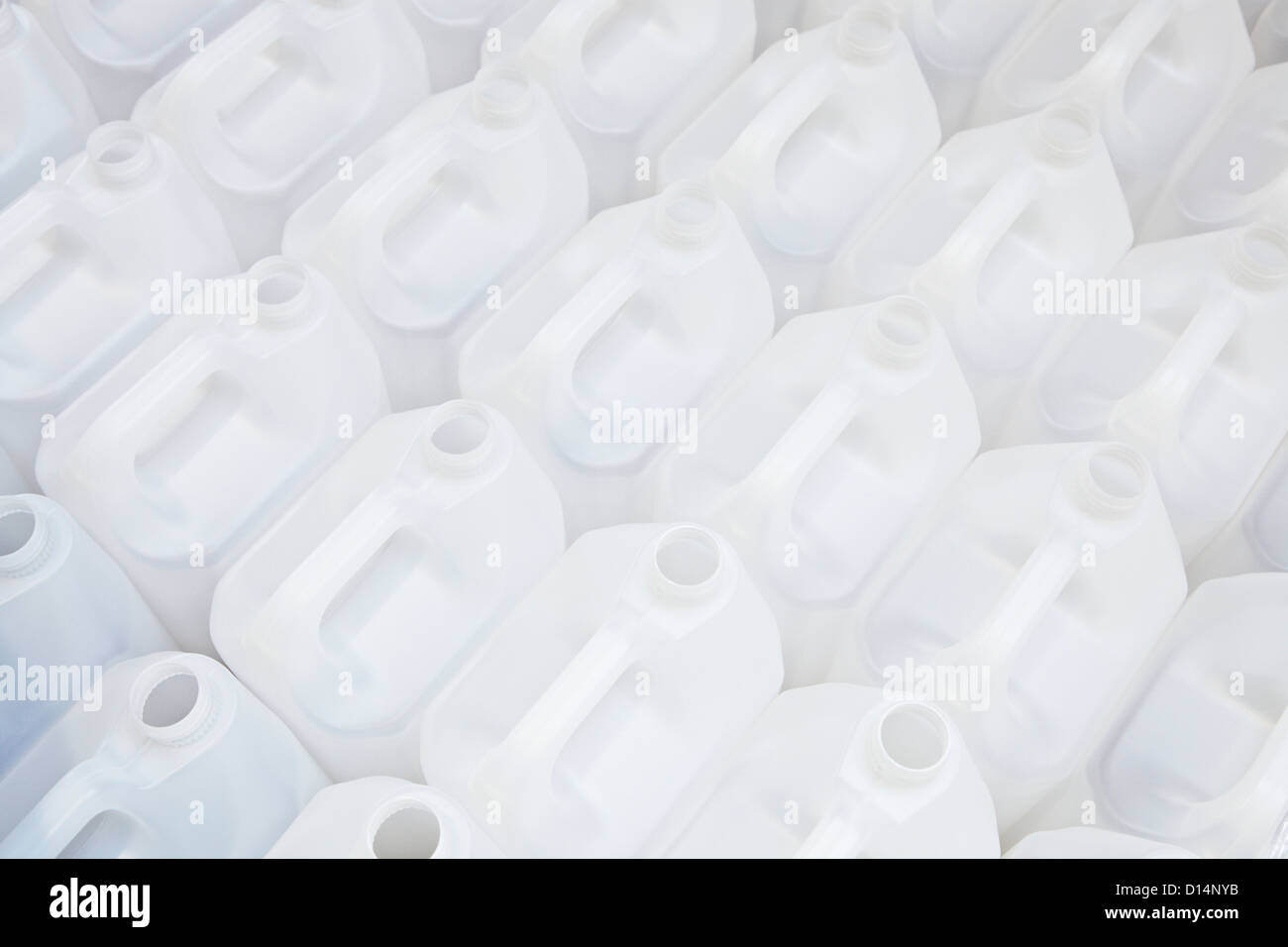 Close up of empty white plastic cartons - Stock Image