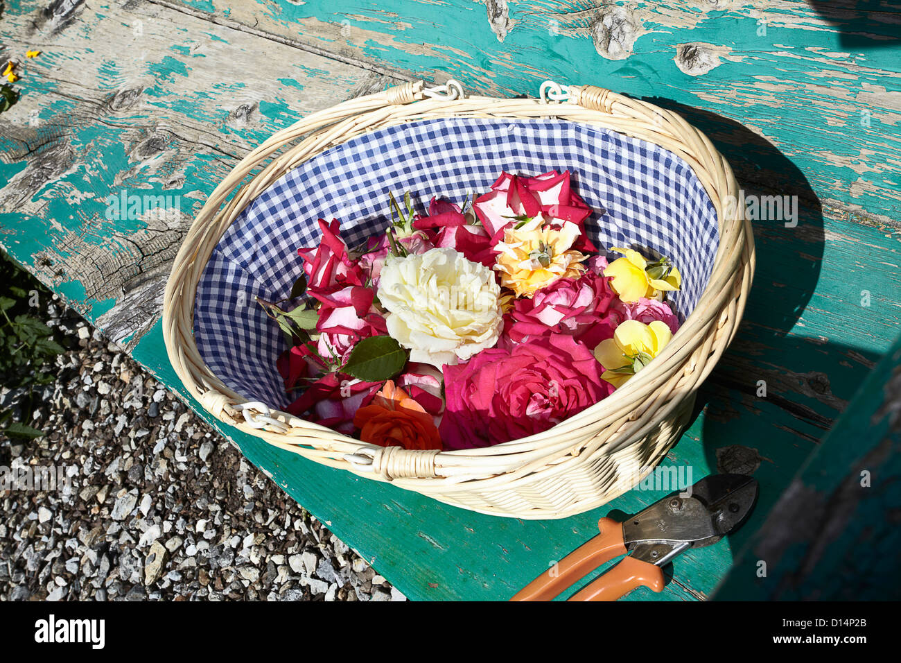Basket of flowers on wooden bench Stock Photo