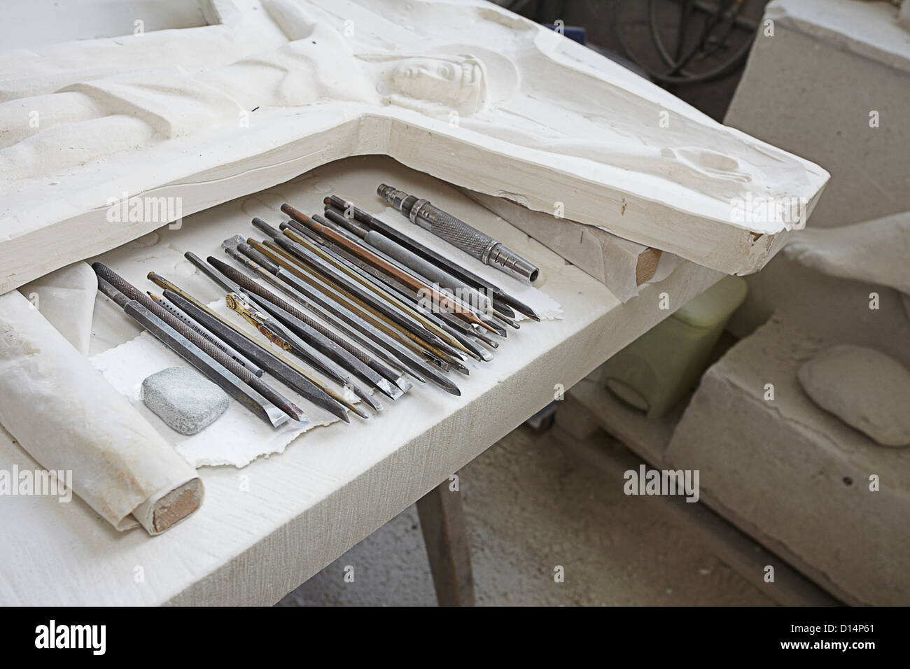 Chisels by stone relief carving - Stock Image