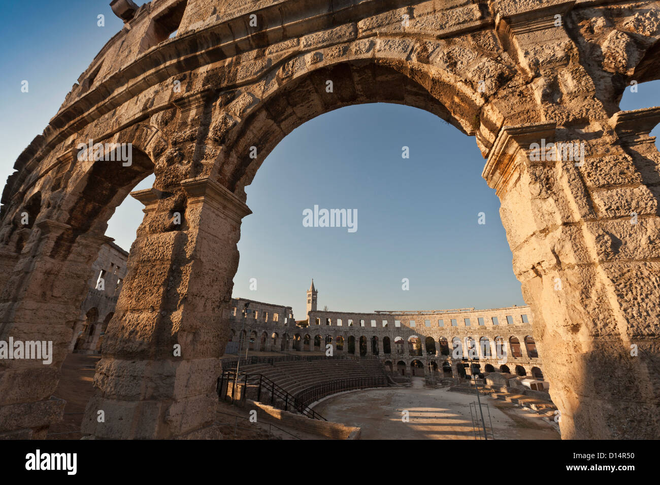 Ancient ruins of arena - Stock Image