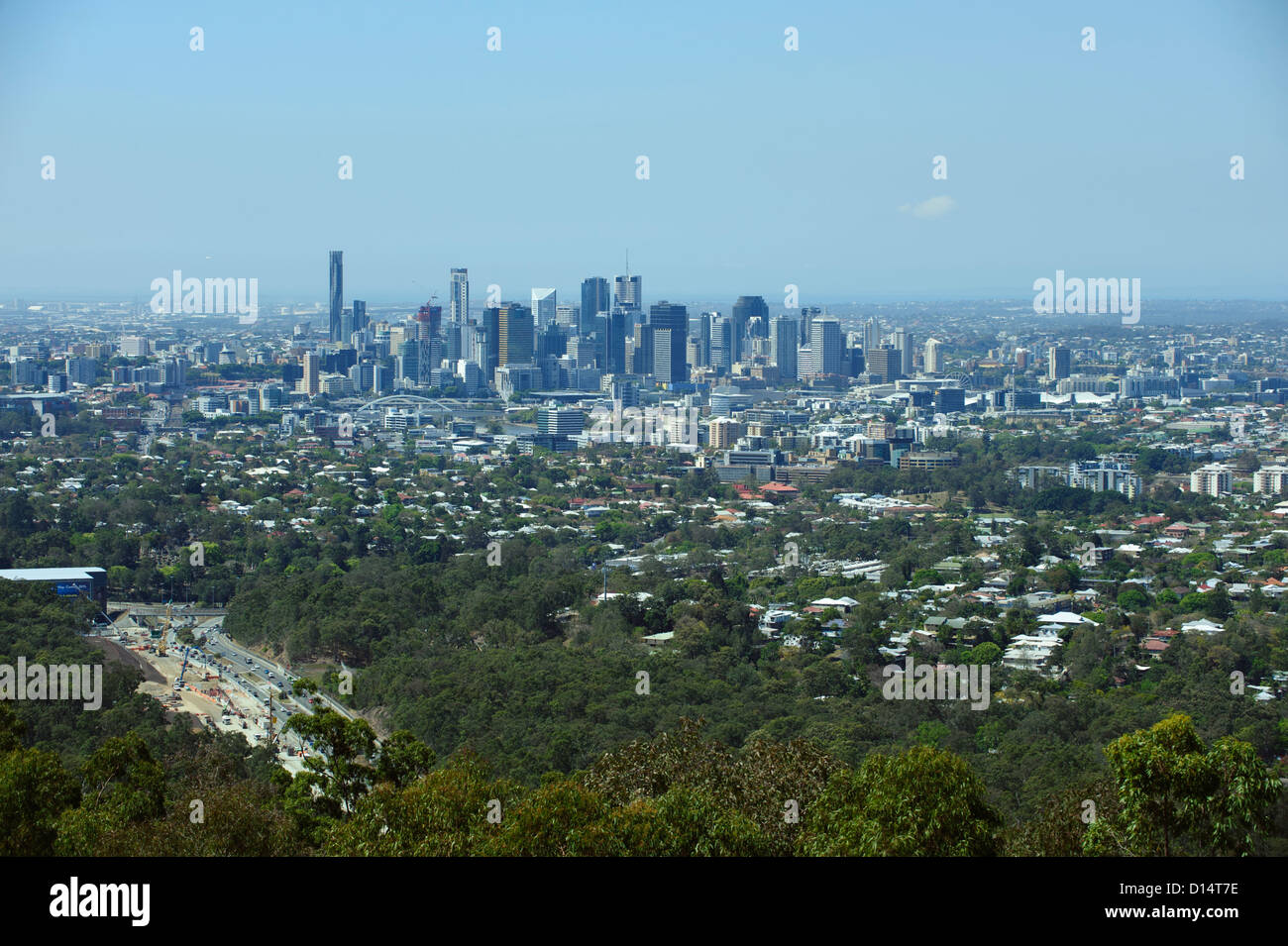 Long distance view of Brisbane, Queensland, Australia - Stock Image