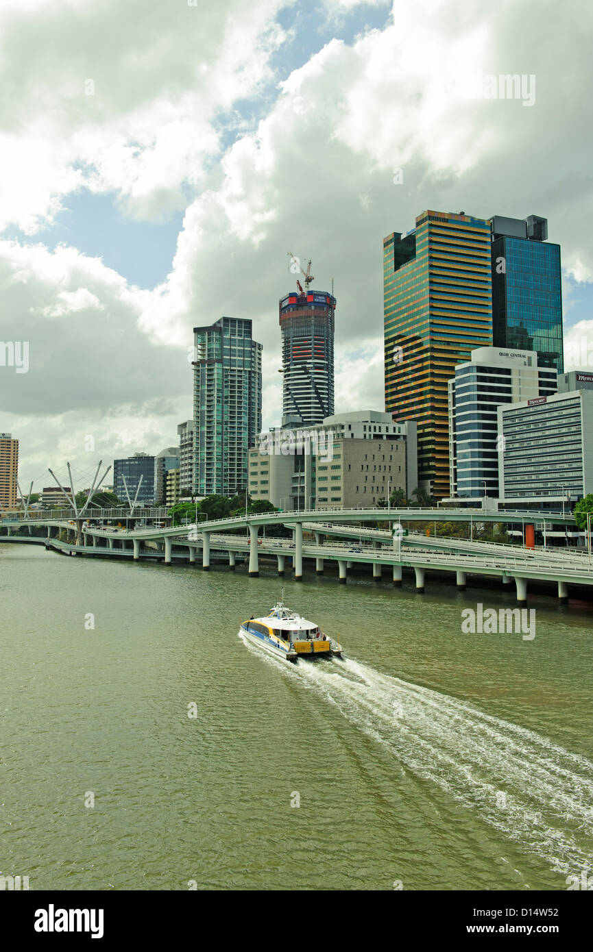 Public transport ferry on the Brisbane River, Brisbane, Queensland, Australia - Stock Image