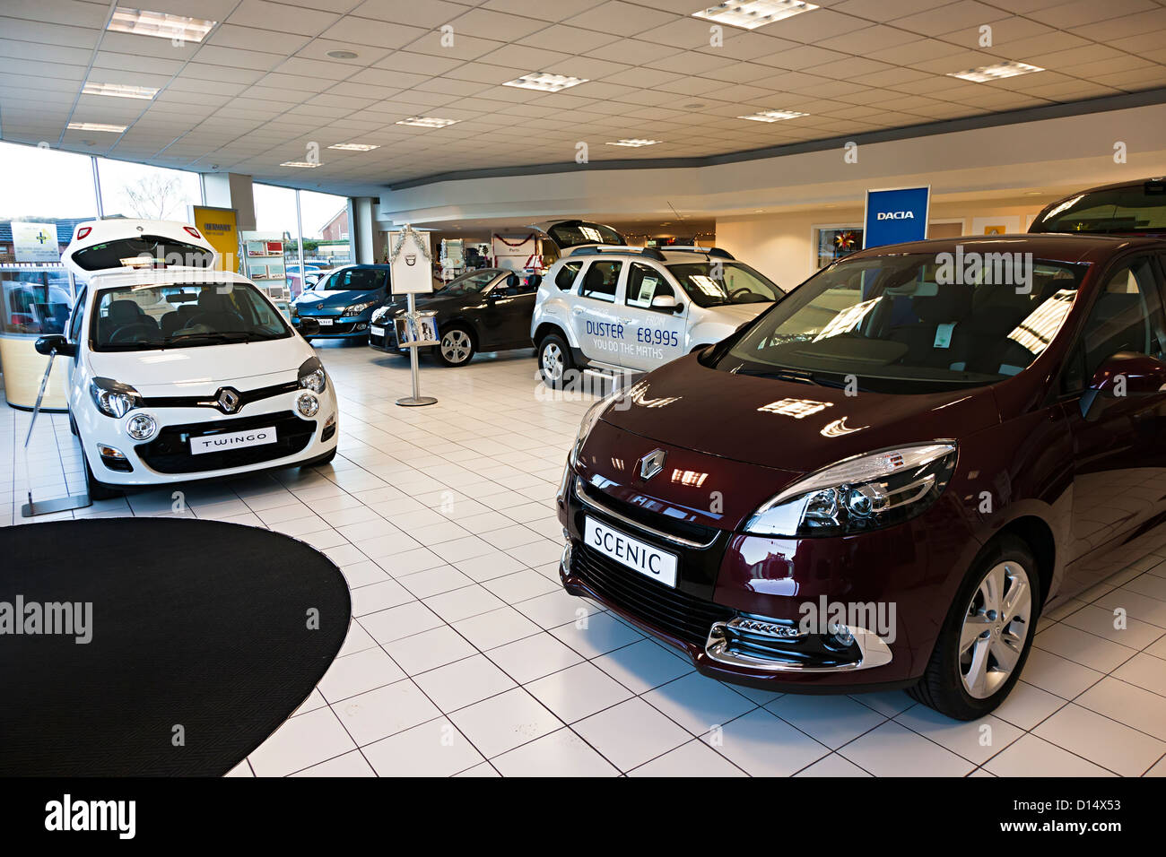 New car showroom, England, UK - Stock Image