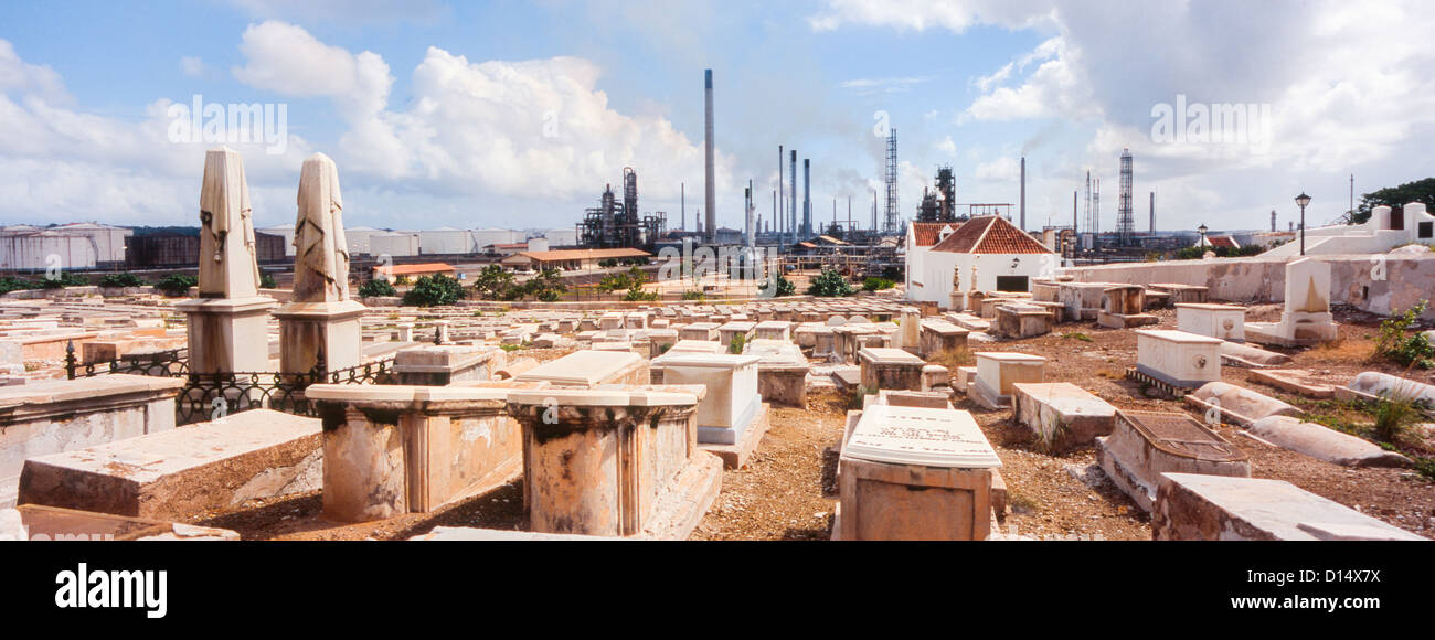 panoramic view of Jewish cemetery in Willemstad, Curacao in the Netherlands Antilles; Caribbean - Stock Image