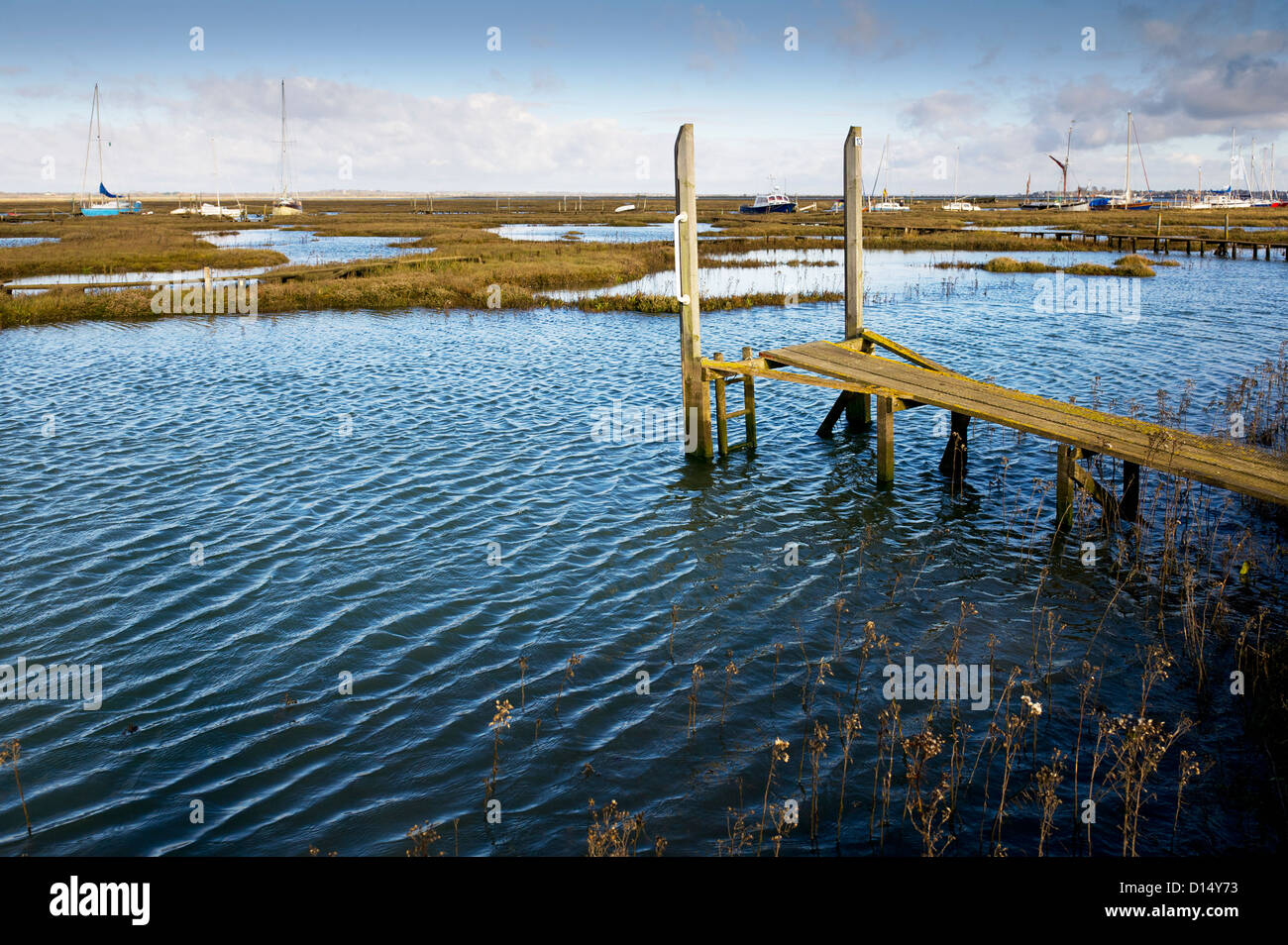 High tide at Tollesbury Saltings in Essex. Stock Photo