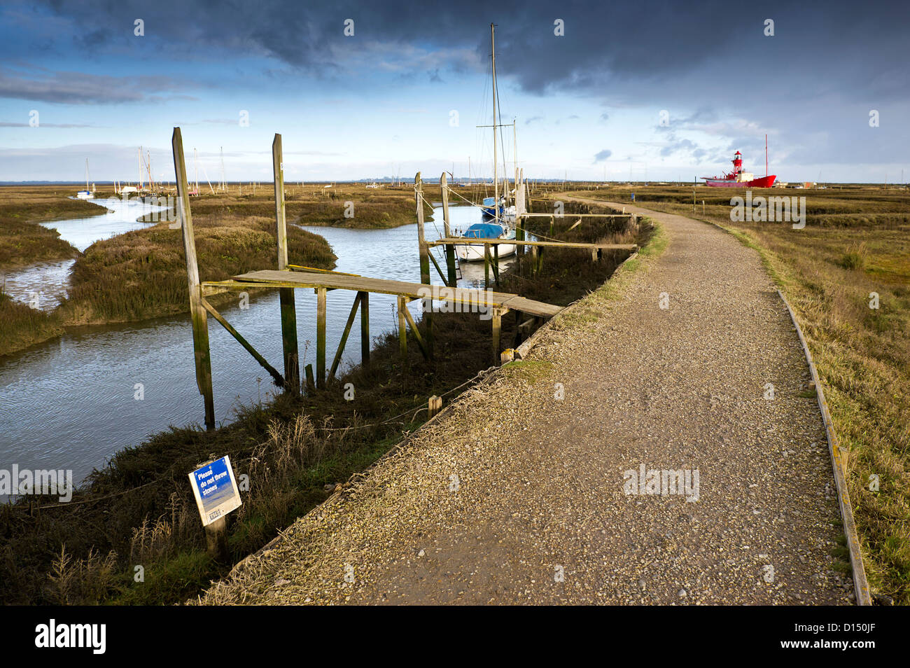A footpath running through Tollesbury Saltings in Essex. Stock Photo