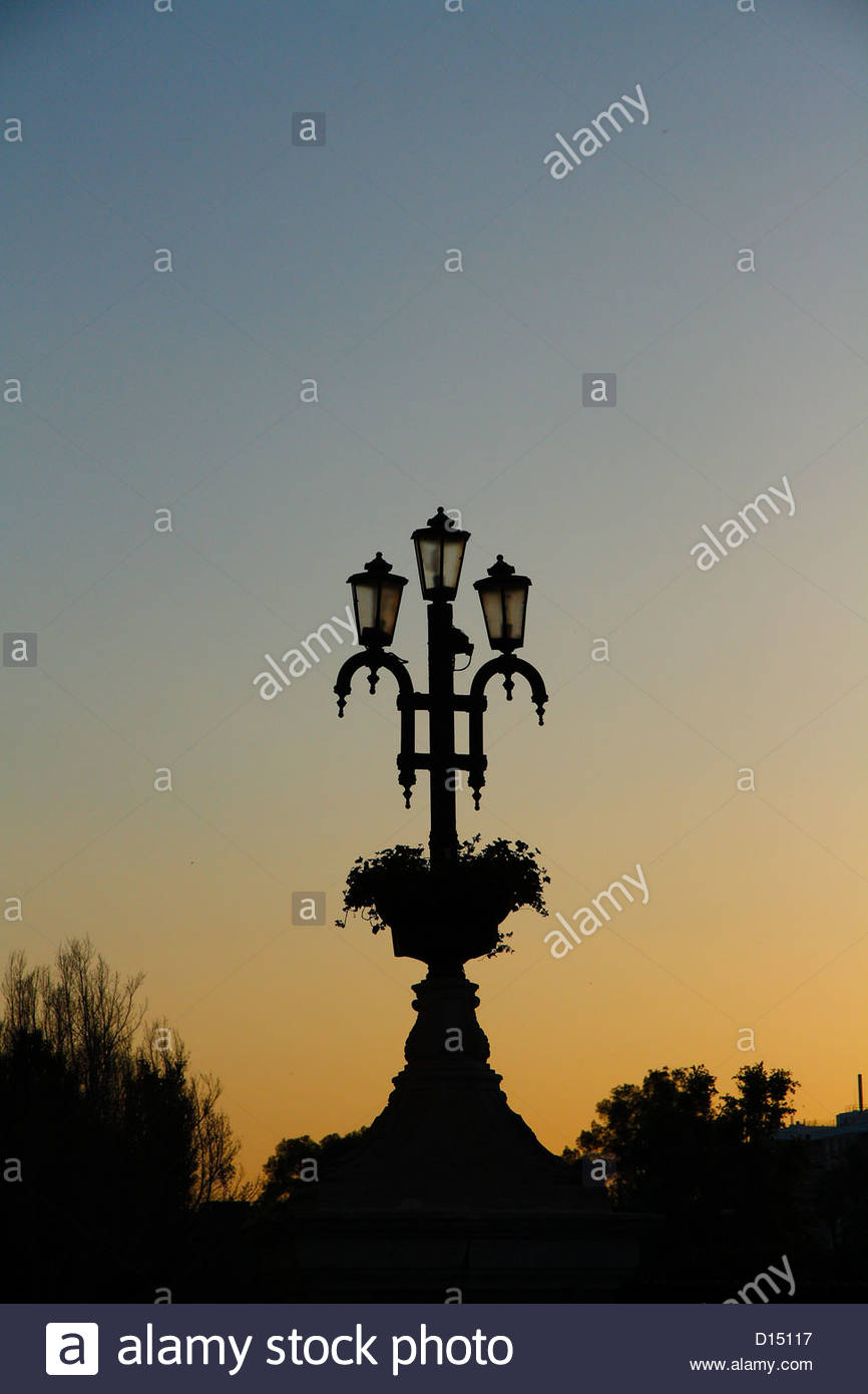 Streetlight in the sunset. Murcia, Spain - Stock Image