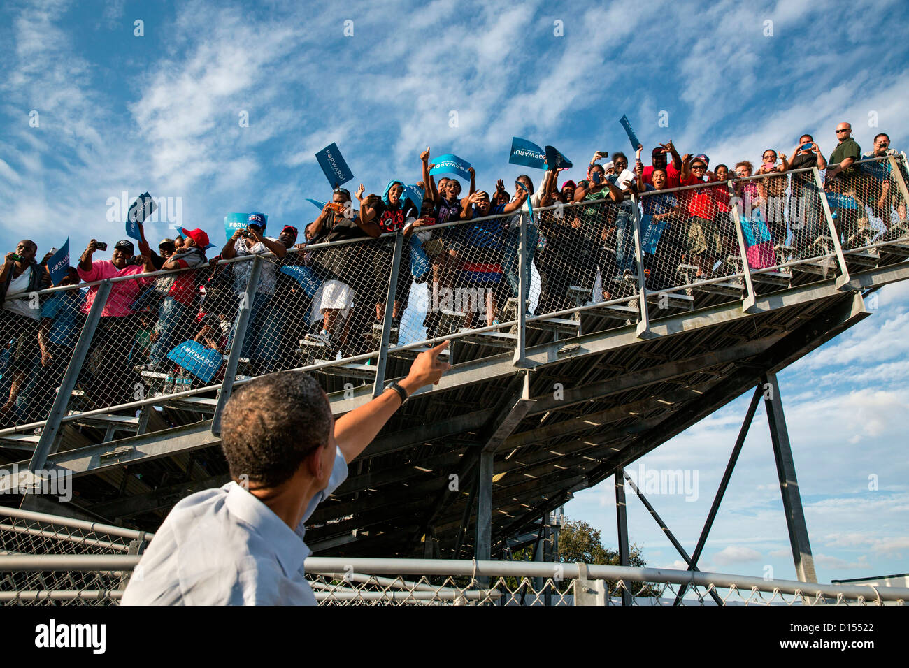 US President Barack Obama acknowledges the crowd during a campaign event at McArthur High School November 4, 2012 - Stock Image
