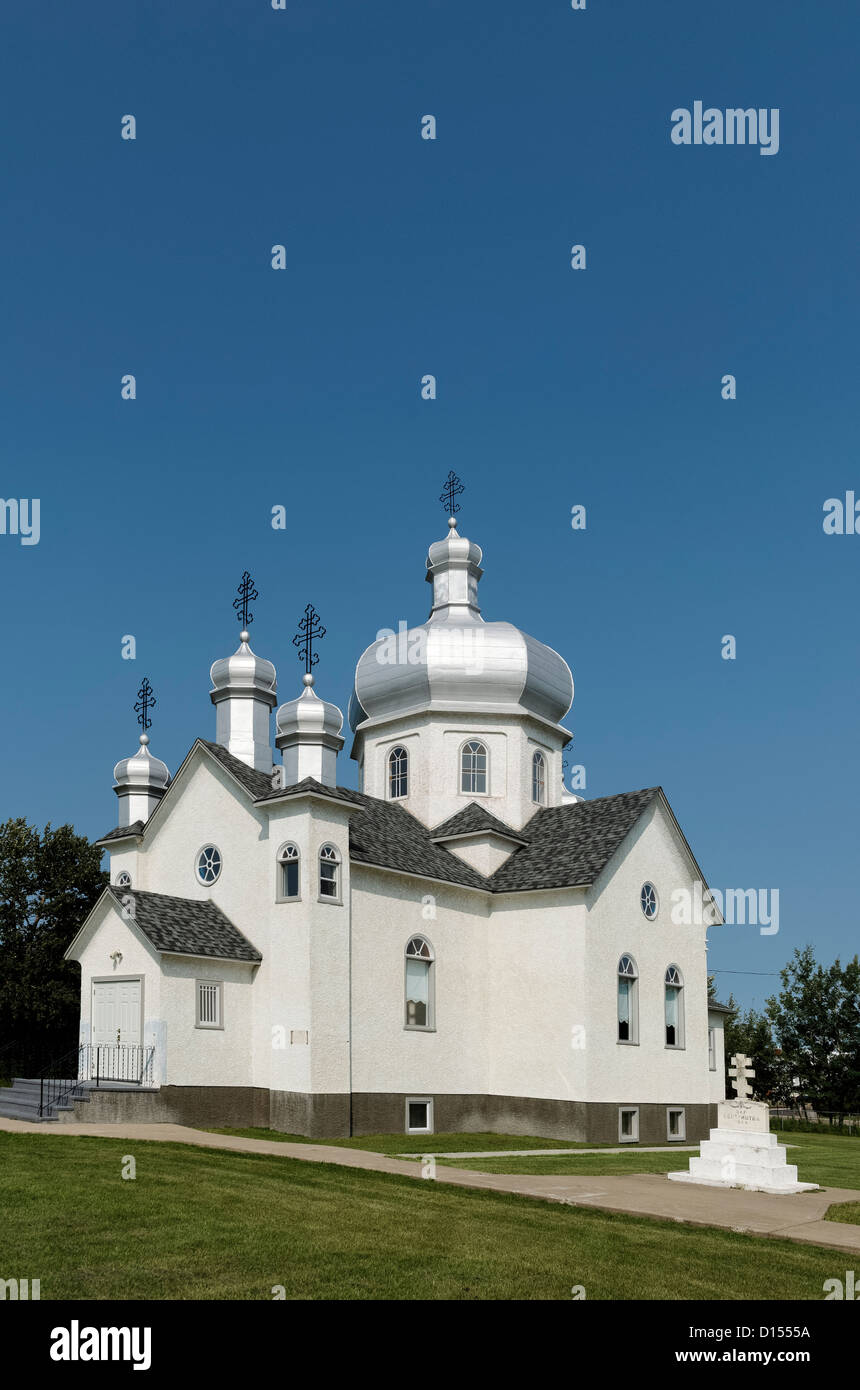 Sts. Peter and Paul Ukrainian Orthodox Church, Village of Andrew, Alberta, Canada - Stock Image