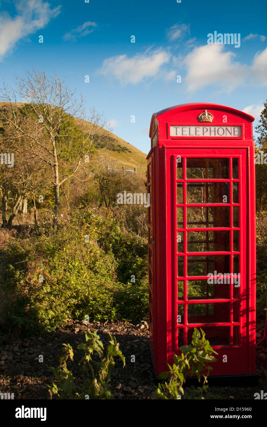 A remote British Red Telephone box in the Cheviots, - Stock Image