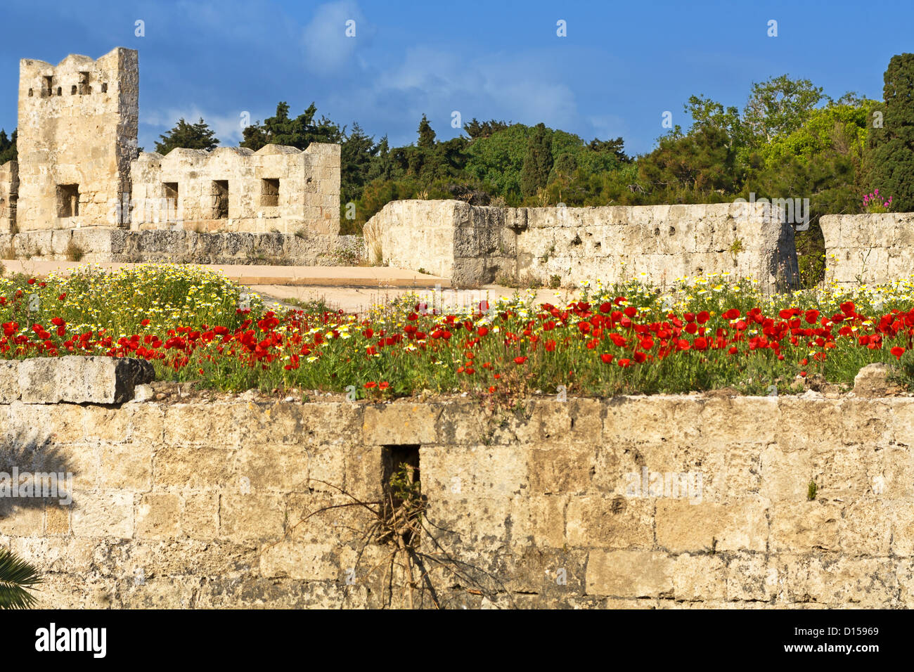 Castle of the Knights at Rhodes island in Greece - Stock Image