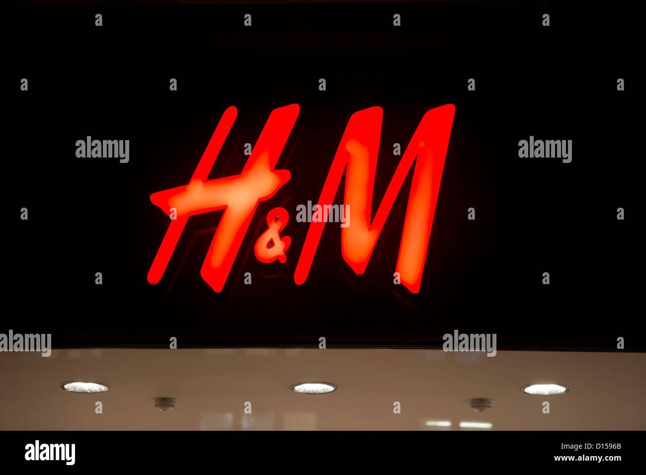 H&M store and logo, - Stock Image
