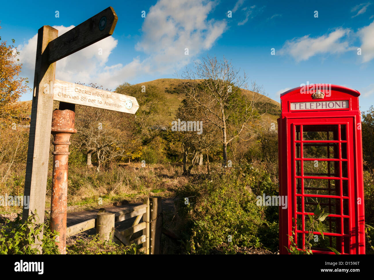 A remote British Red Telephone box - Stock Image