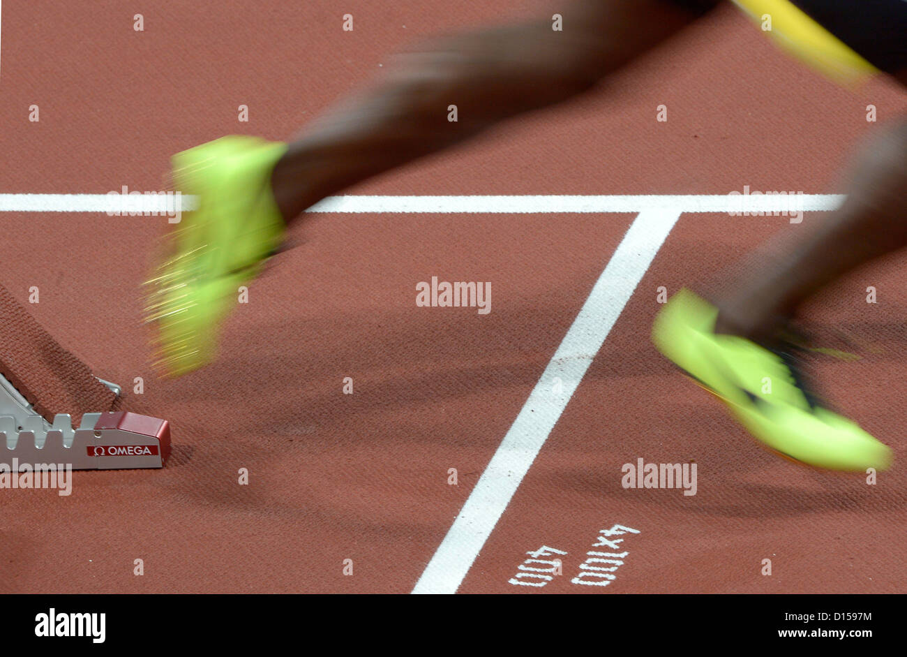 Start of the mens 4x100m relay. Athletics - Stock Image