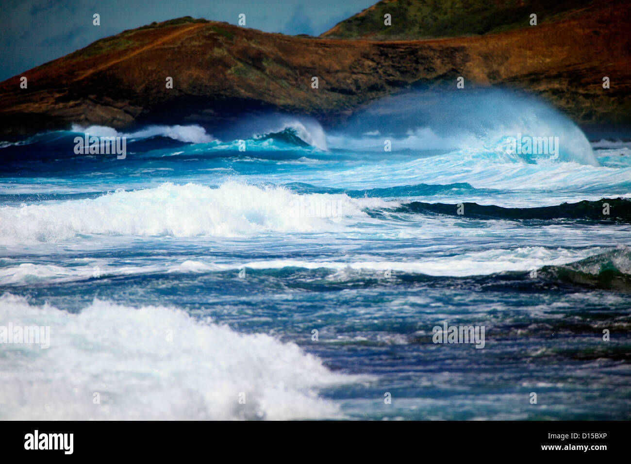Hawaii, Oahu, Beautiful Wave Breaking, Shot Between Sandy's And Makapu'u. - Stock Image