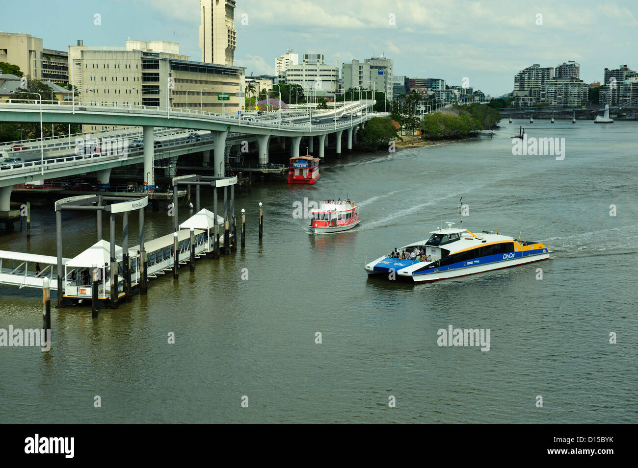 Ferries on Brisbane River in Brisbane, Queensland, Australia - Stock Image
