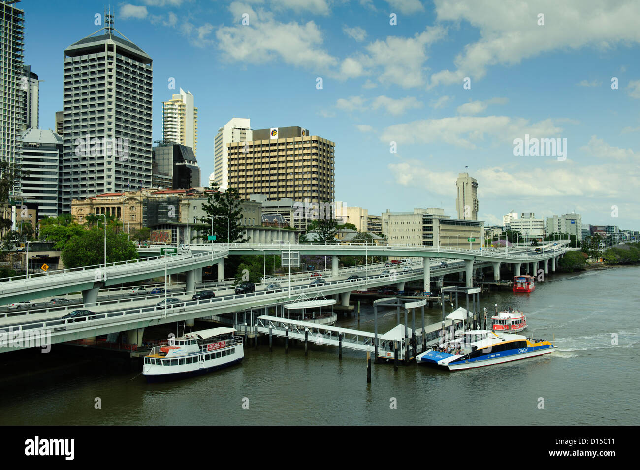 Ferries mooring on Brisbane River in Brisbane, Queensland, Australia - Stock Image