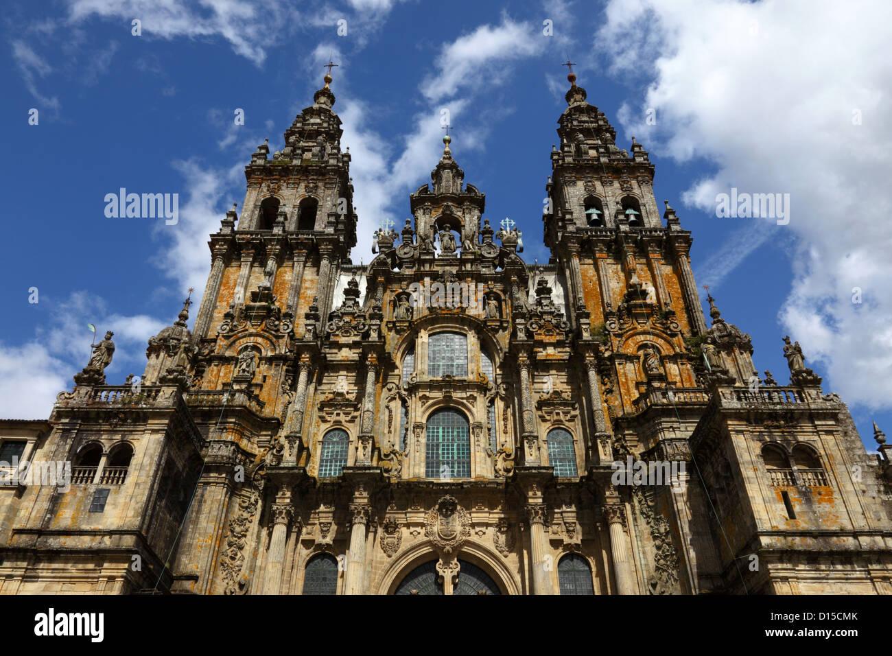 West facade of cathedral seen from Praza do Obradoiro, Santiago de Compostela , Galicia , Spain Stock Photo