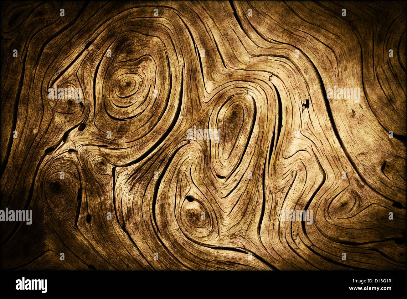 Dark Grunge Wood Swirls Organic Background Texture - Stock Image