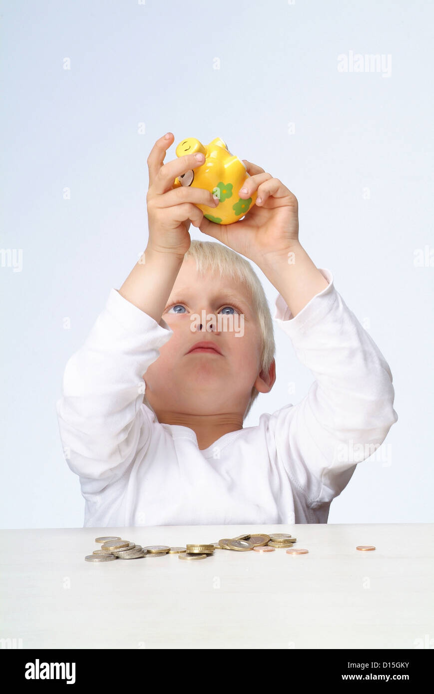 Hamburg, Germany, a boy emptied his piggy bank Stock Photo