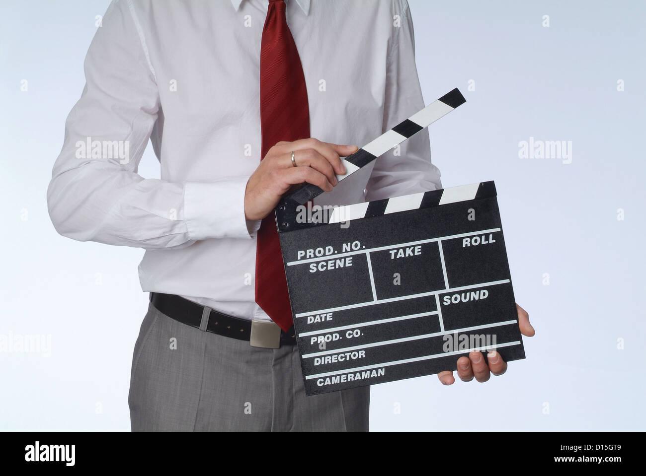 Hamburg, Germany, a man considers a Regieklappe - Stock Image