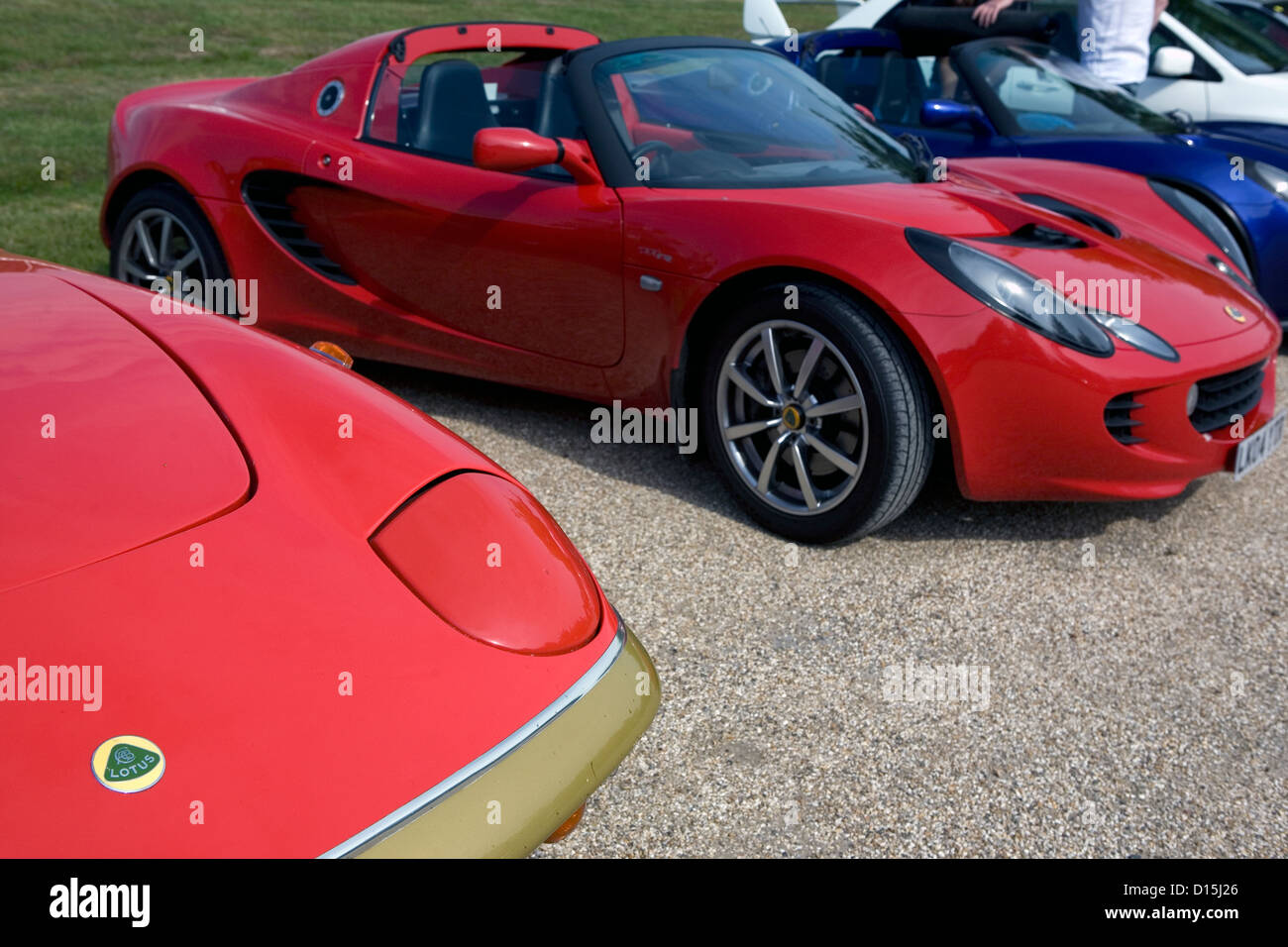 A row of modern and old Lotus cars parked on gravel at a car show ...
