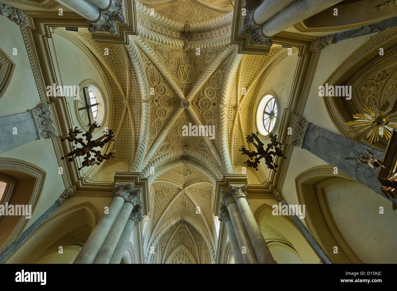 the cross vault of the catholic cathedral of Erice, Trapani province, Sicily, Italy - Stock Image