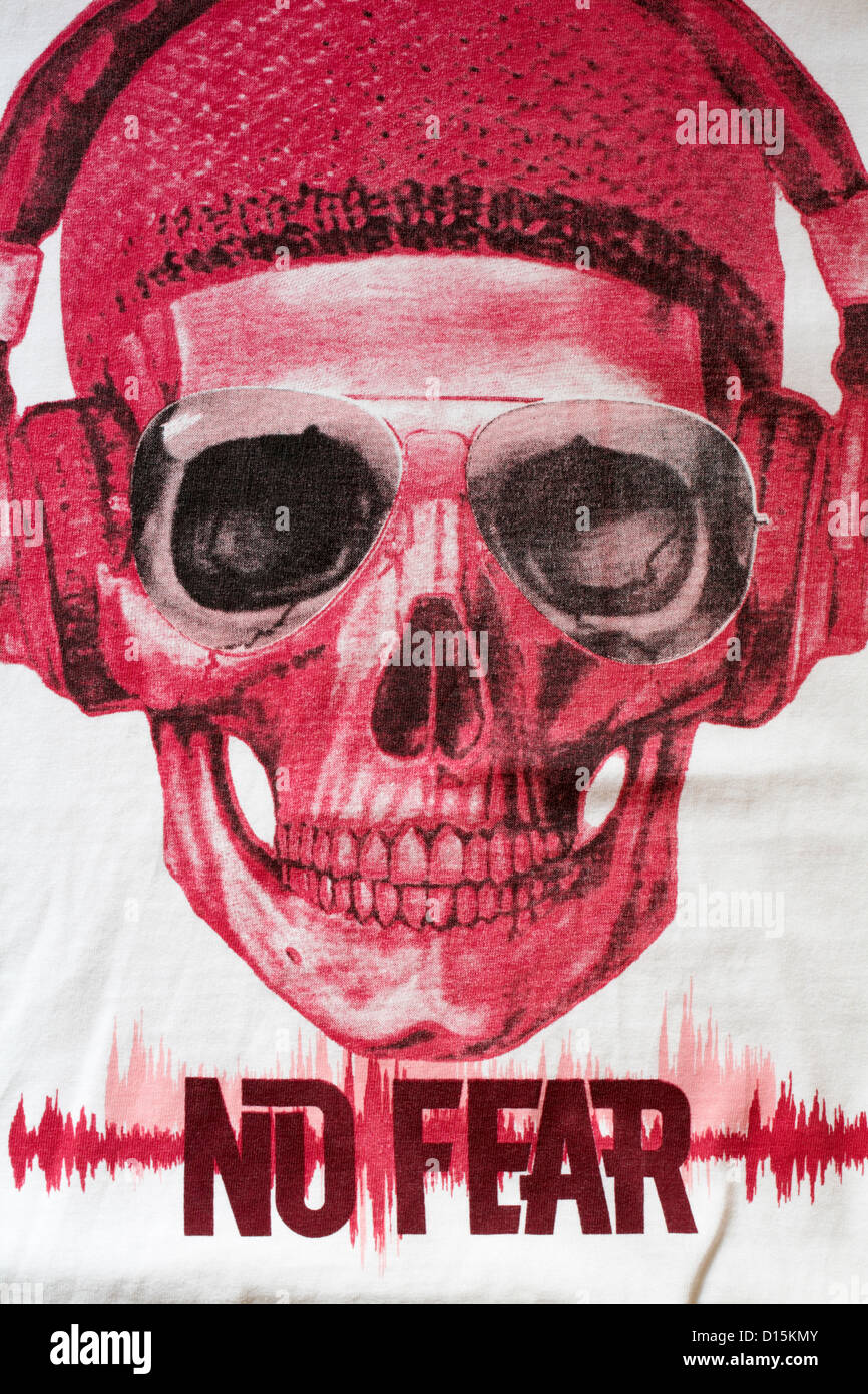Detail on No Fear t-shirt Stock Photo