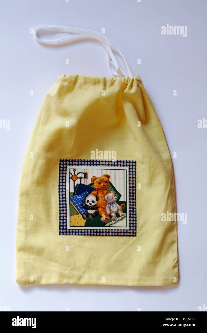 White Drawstring Bag Stock Photos Panda Yellow With Teddy Bears And On Isolated Background Image