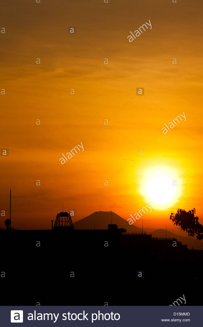 Sunset over Mt Fuji, seen from Mitaka,Tokyo. Stock Photo