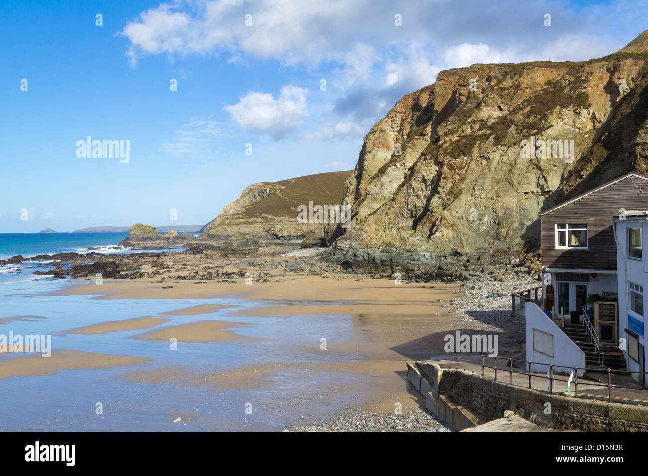 The beach at Trevaunance Cove St Agnes, Cornwall England UK - Stock Image