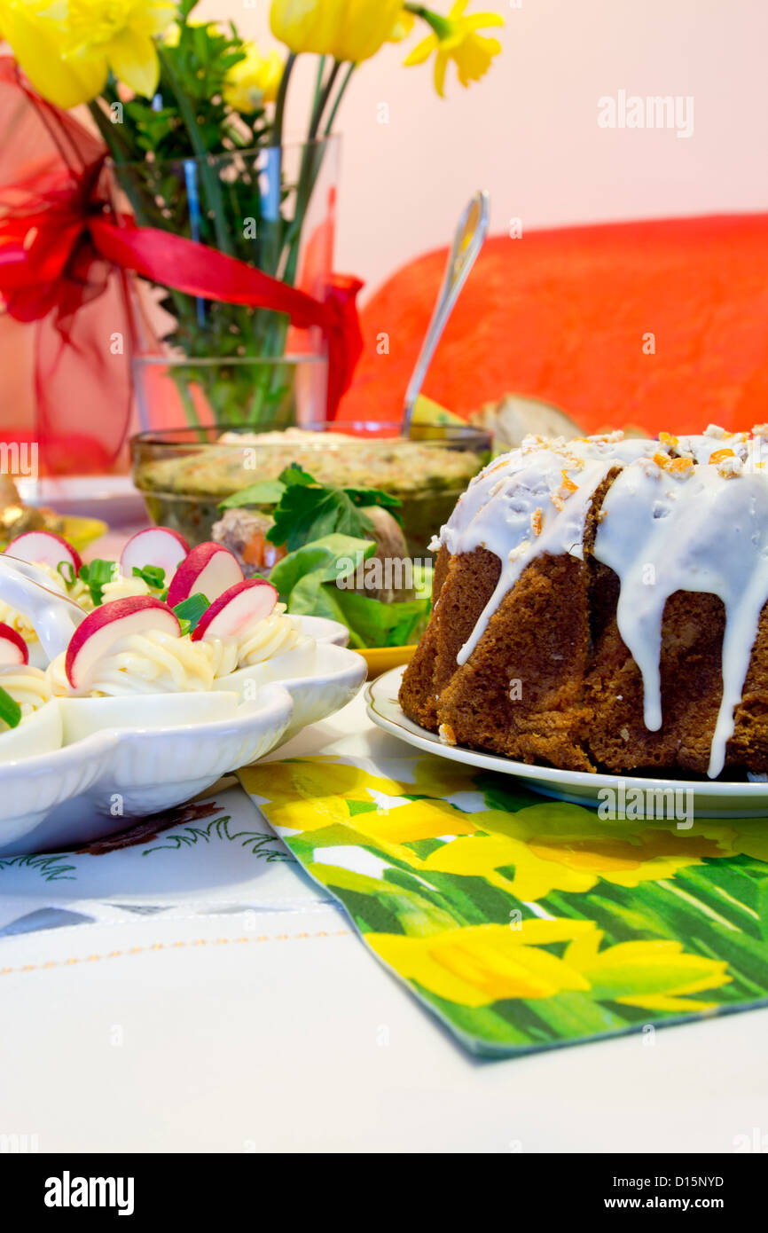 Easter meal on table - Stock Image