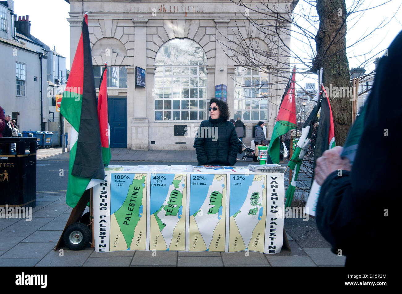 Brighton, UK. 8th Dec, 2012. Members of the Palestine Solidarity Campaign demonstrating outside the world's - Stock Image