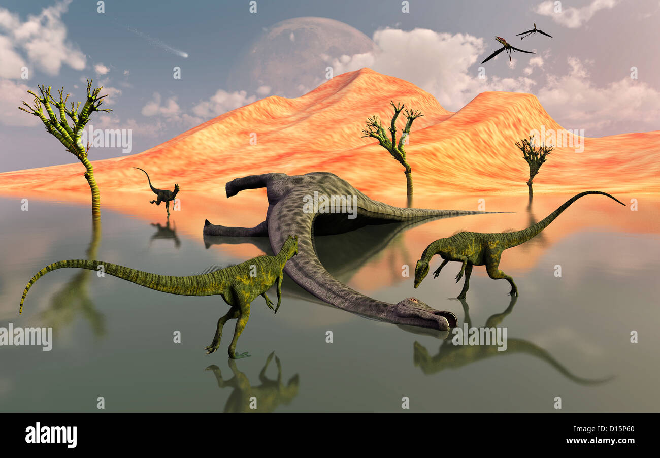 A Pack Of Dilophosaurus Scavaging A Meal. Stock Photo