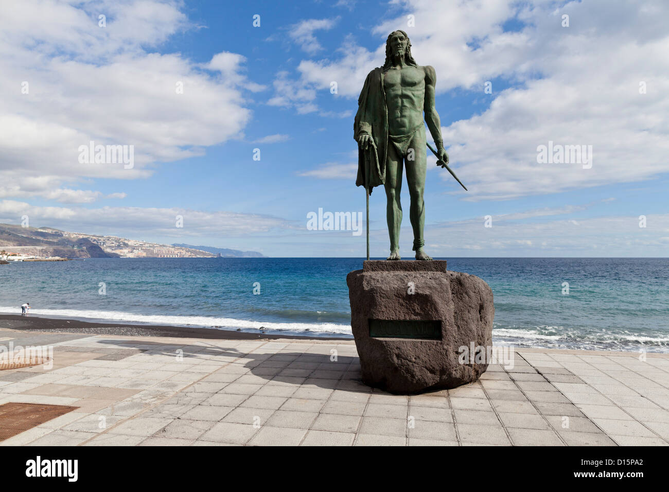 Mencey Acaymo statue of one of the Guanche rulers of Tenerife in Candelaria, Tenerife, Canary Islands, Spain - Stock Image
