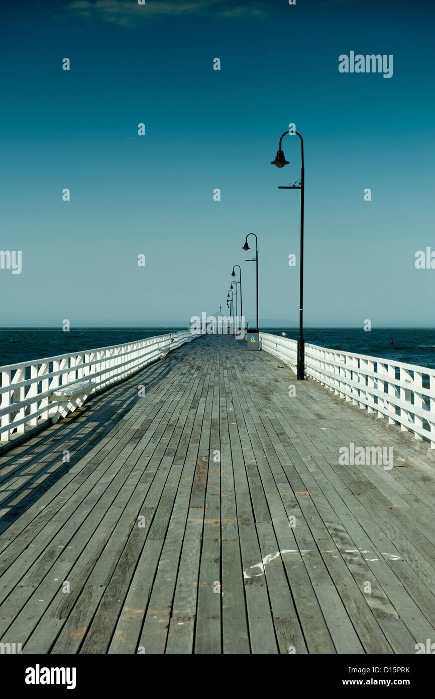 Constructed in 1872, historic Shorncliffe Pier faces demolition due to extensive damage by marine borers. Brisbane, - Stock Image