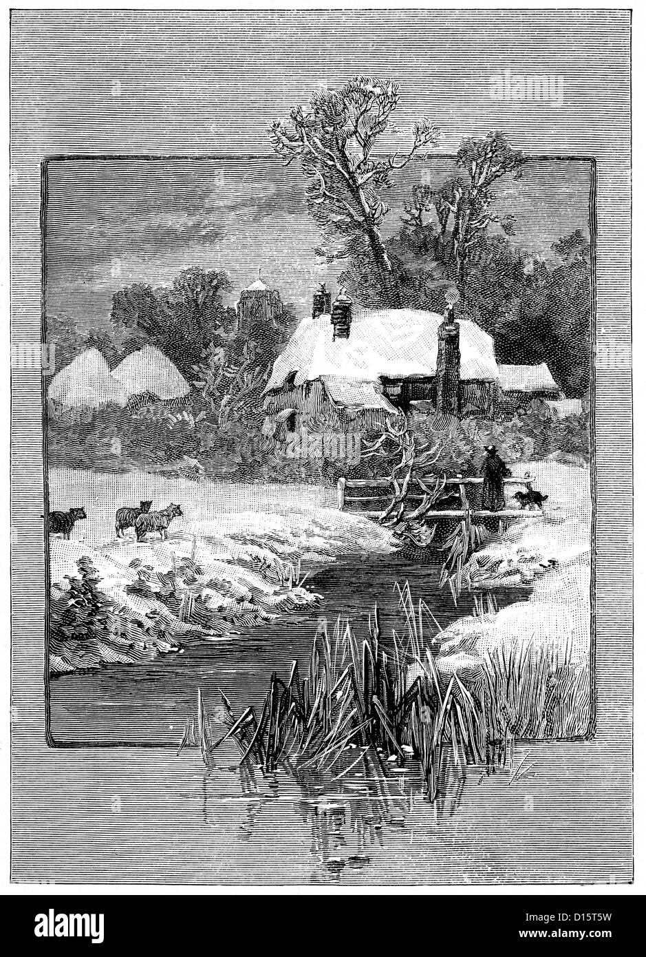 Victorian engraving of winter scene, a frozen brook and country cottage, 1897 - Stock Image