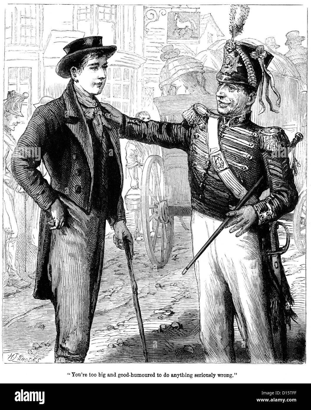 The Recruiting sergeant from the British army talking to a possible new recruit, circa 1815 - Stock Image