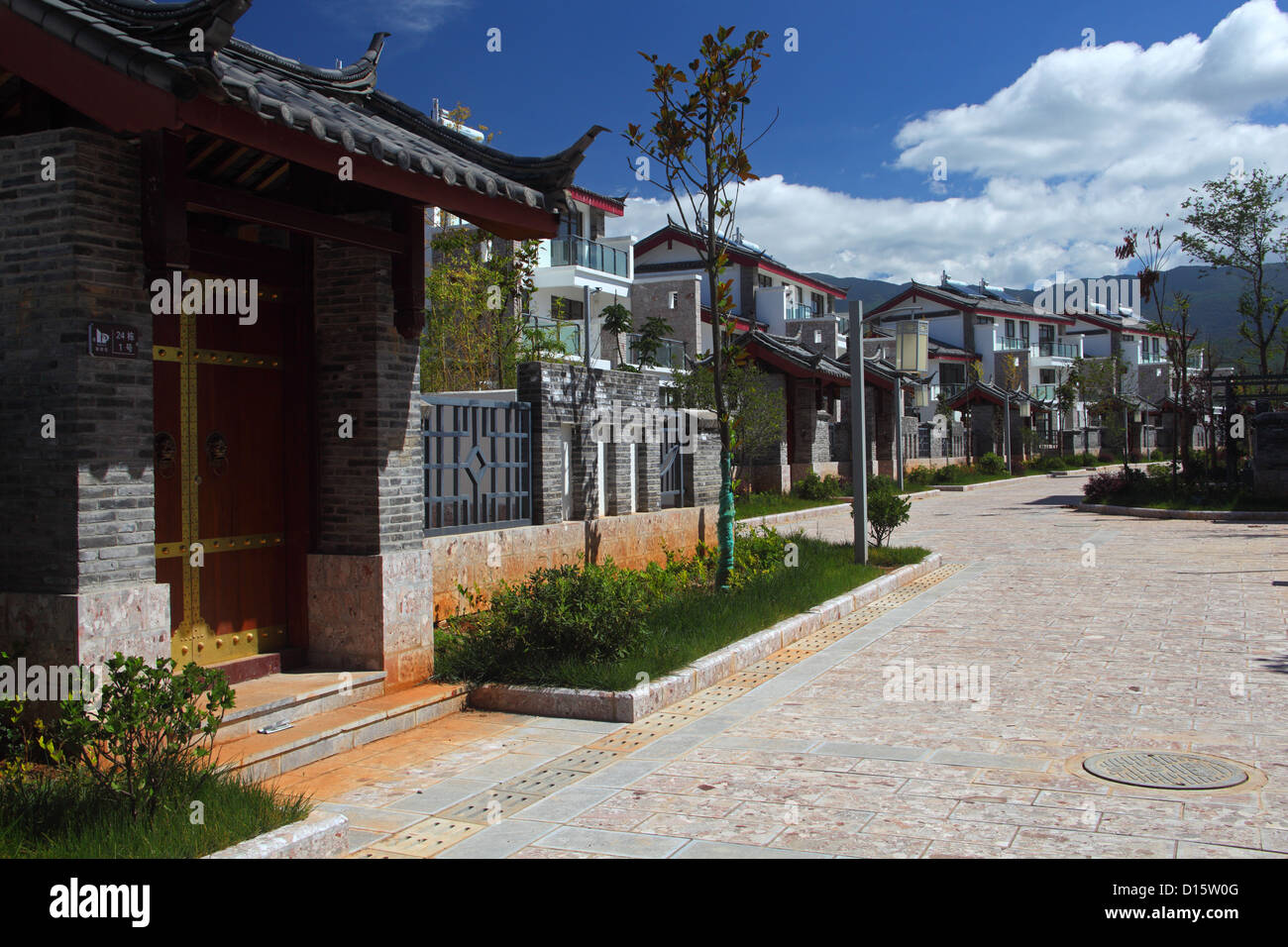 Modern Chinese Housing Area Near The Town Of Lijiang In South Central Yunnan ProvinceBuild TradNaxi Design And Colours That Region