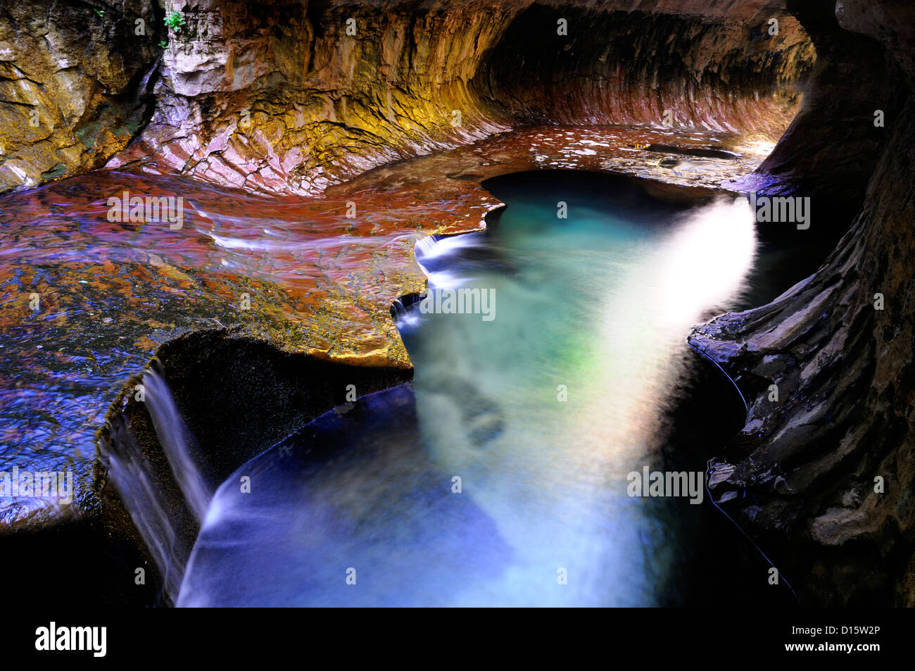 The Subway Left Fork of North Creek Zion National Park Utah rock formation beam shaft light pool famous hike - Stock Image