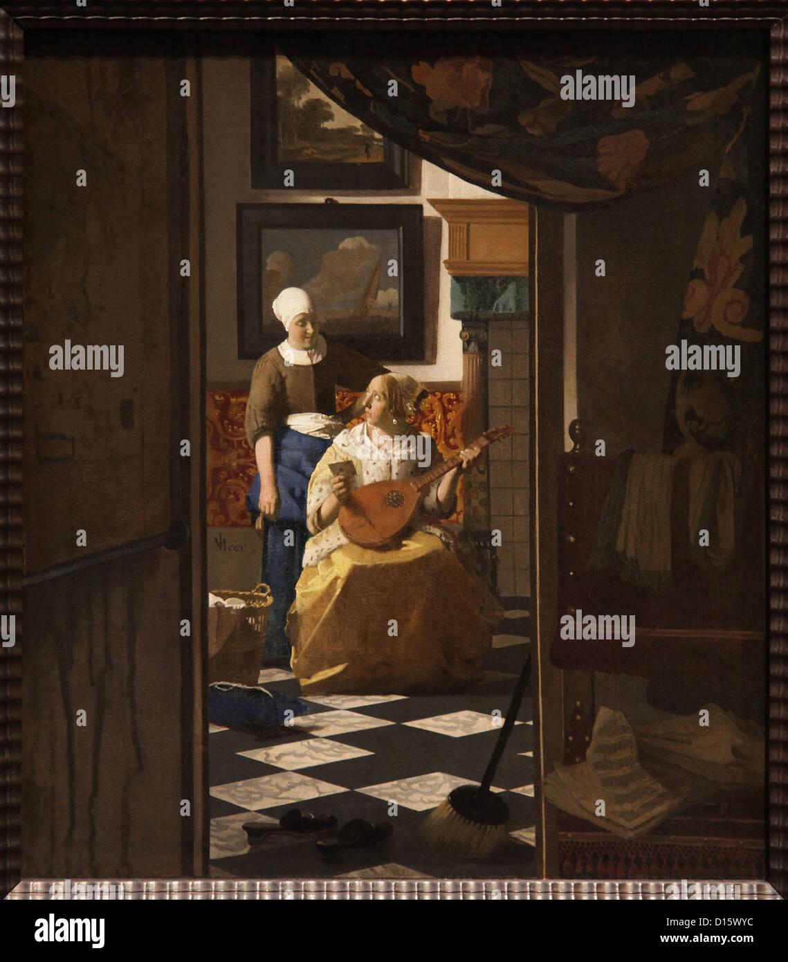 Johannes Vermeer,the love letter,1669,oil on canvas,Amsterdam Holland. - Stock Image