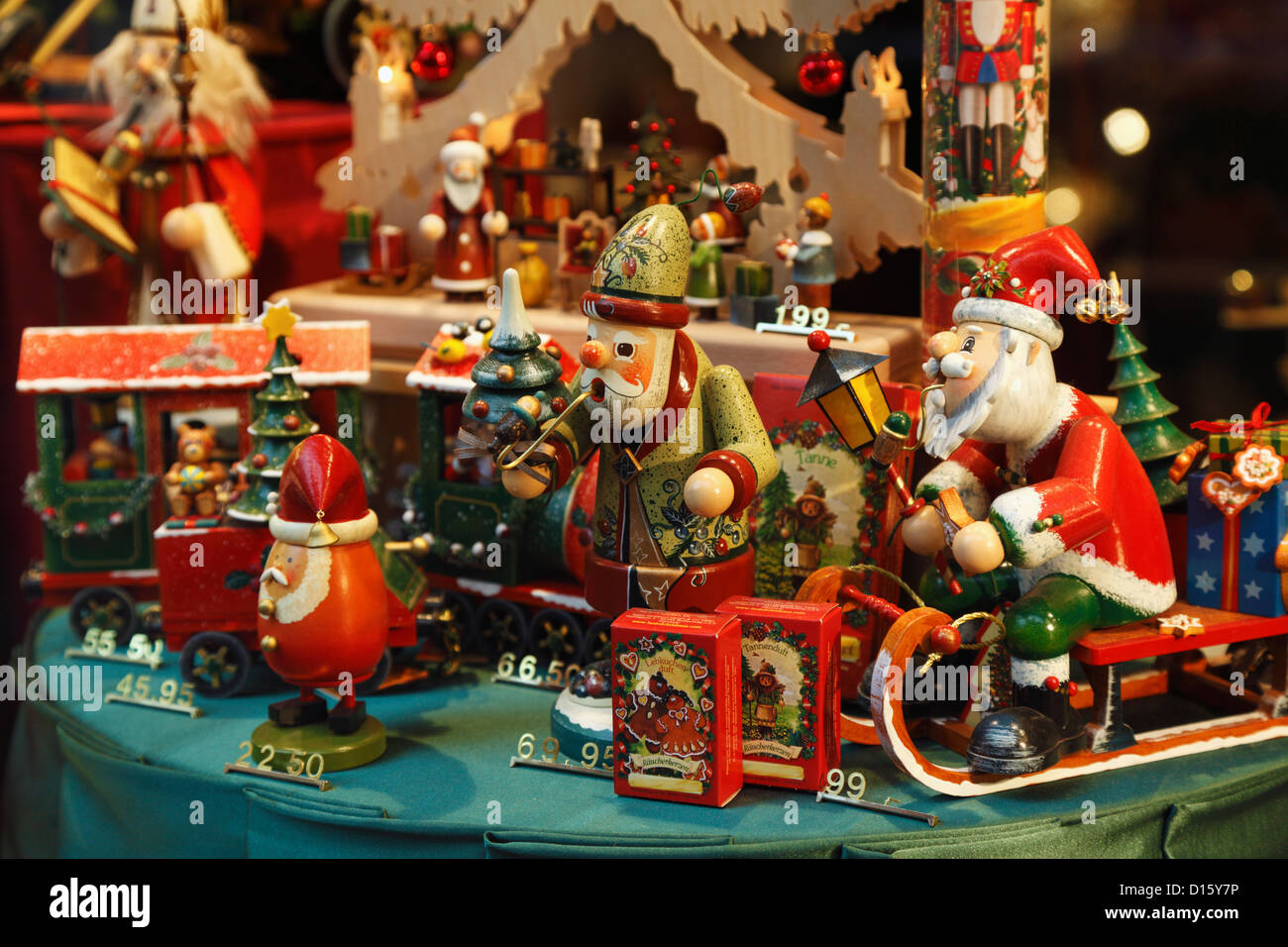 vintage look christmas toys and decorations in a store window display in bruges belgium - Christmas Toys