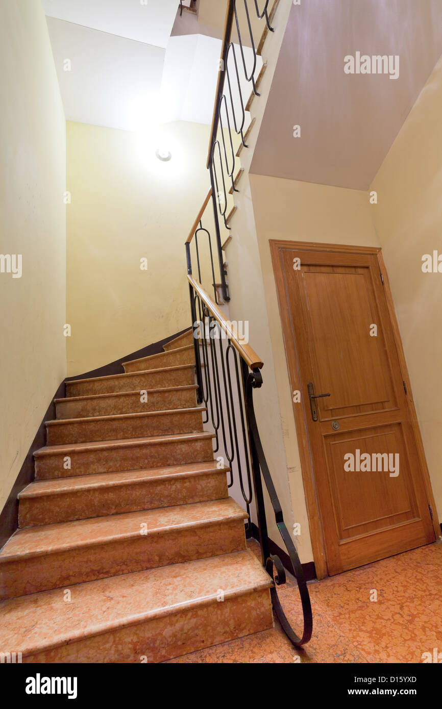 Narrow Front Stone Staircase In House   Stock Image