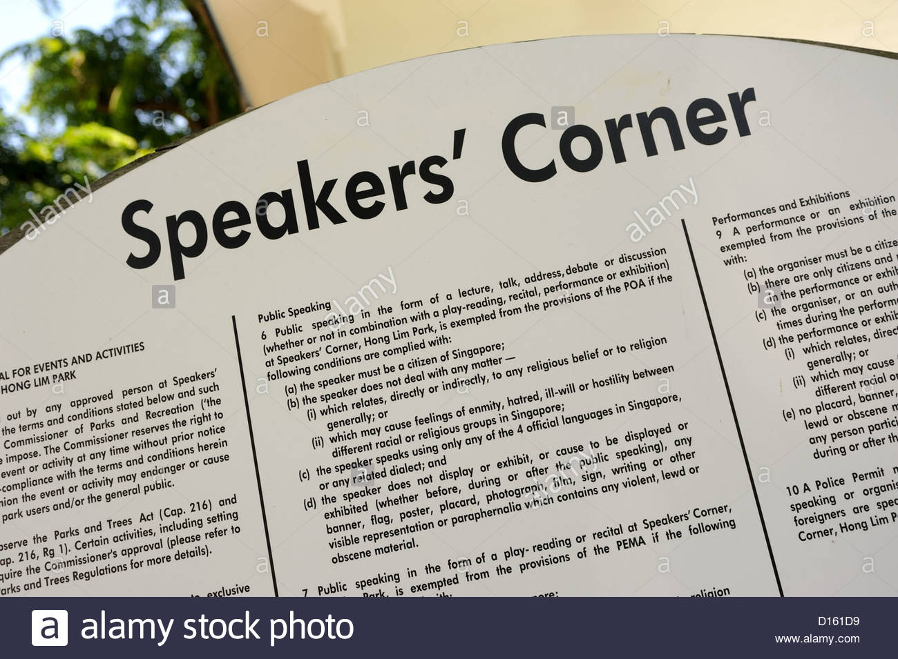 Singapore - Hong Lim Park - Speakers Corner rules and limitations. - Stock Image