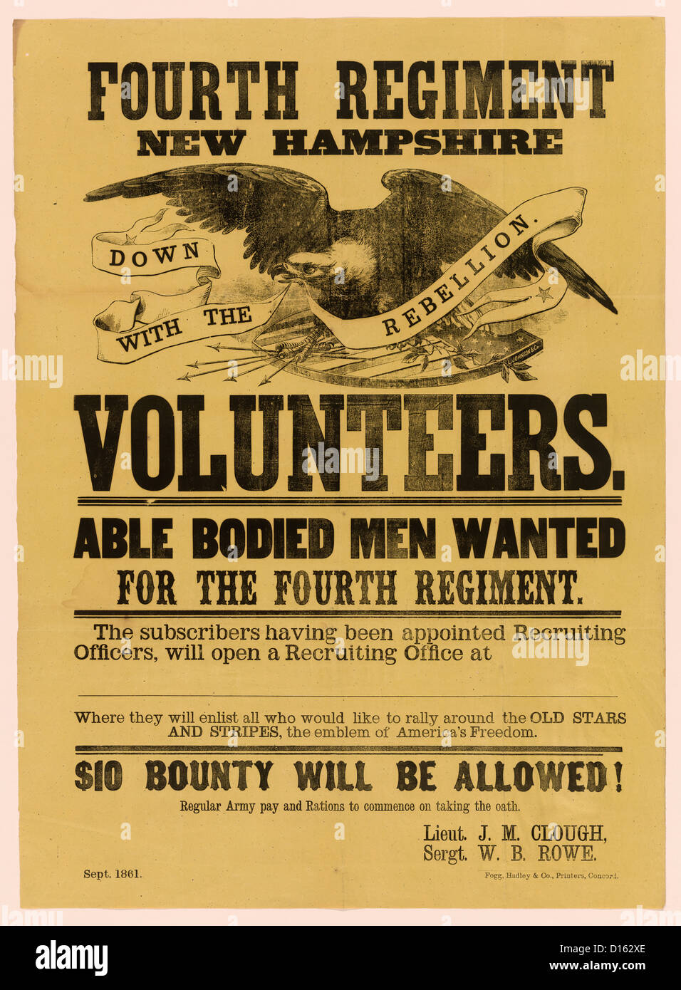 Fourth Regiment New Hampshire Volunteers -Recruitment Poster USA Civil War, 1861 - Stock Image