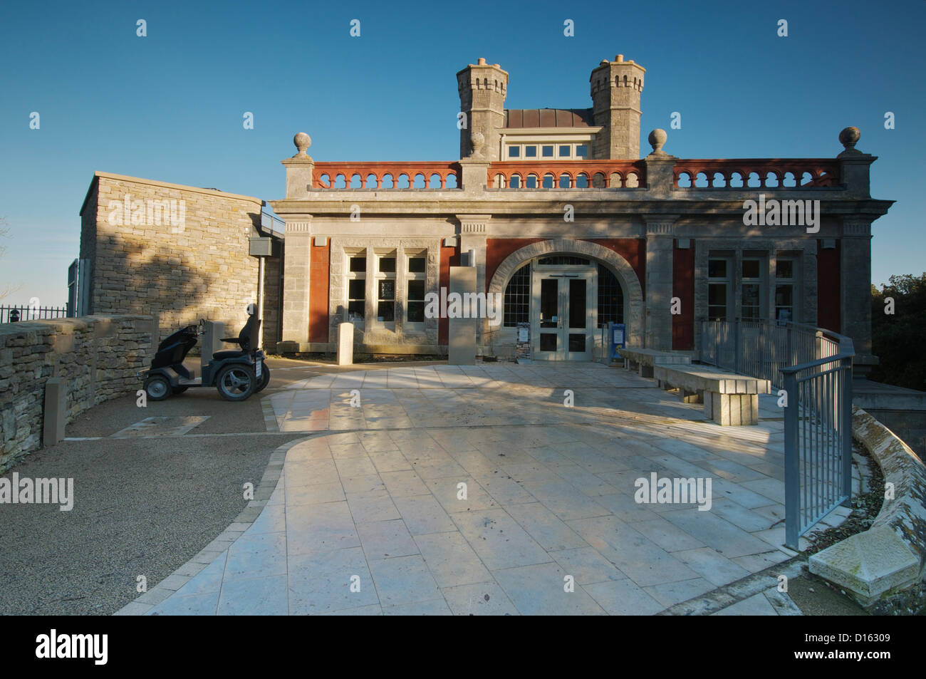Main entrance to Durlston castle, Swanage, Dorset, UK, photographed on the day of their official BBC1 TV award ceremony - Stock Image
