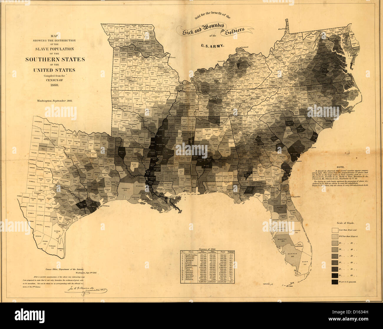 Distribution of Slavery in the Southern States, as per 1860 USA Census - Stock Image